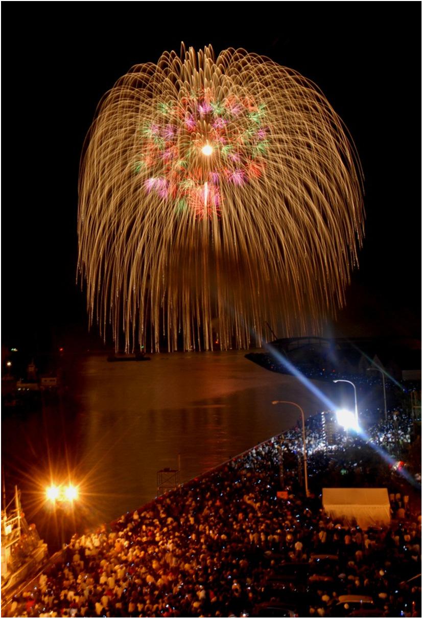 釧路川と三尺玉大花火(北海道釧路市)
