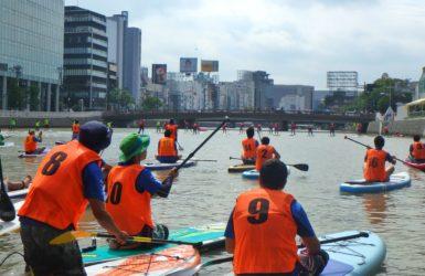 博多天神を流れる那珂川会場のSUPイベント「MIZBERING FUKUOKA CITY CUP」に参戦